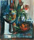 American School 20th Century Still Life with Compote and Flowers
