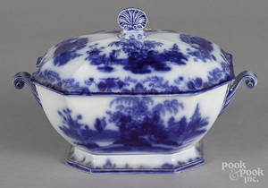 Flow blue Scinde pattern tureen