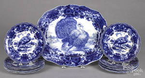 Ridgways flow blue turkey platter and twelve plates