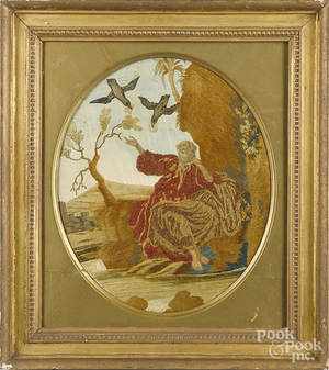 Silk and chenille allegorical embroidery