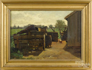 American oil on canvas farm scene