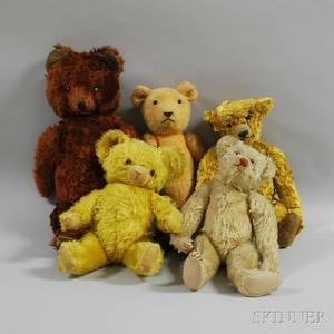 Five Assorted Vintage Mohair Teddy Bears