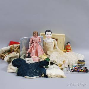 Group of Assorted Dolls Doll Parts and Doll Accessories
