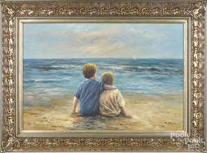 American oil on canvas of two children at the beach