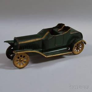 Vintage DP Clark Greenpainted Pressed Steel Open Touring Car