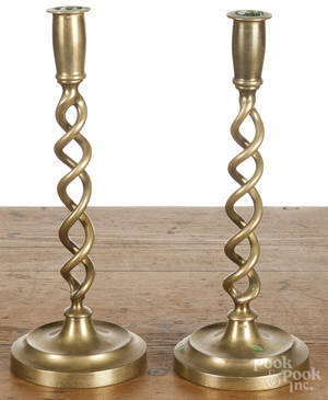 Pair of brass spiral base candlesticks