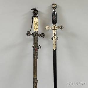 Two Fraternal Swords with Engraved Blades