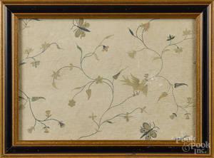 Two silkwork floral panels