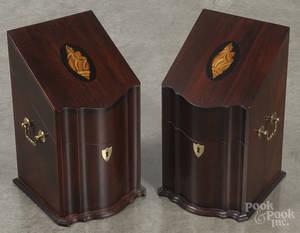 Pair of contemporary inlaid mahogany divided boxes