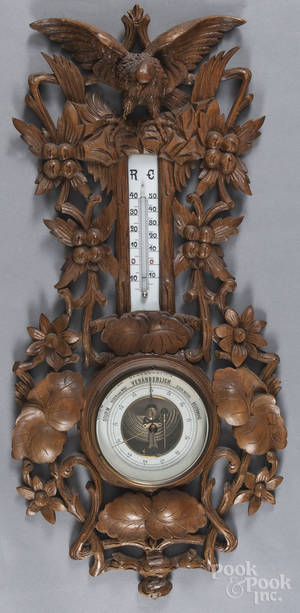 Black Forest carved barometerthermometer