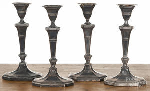 Set of four Sheffield plate candlesticks