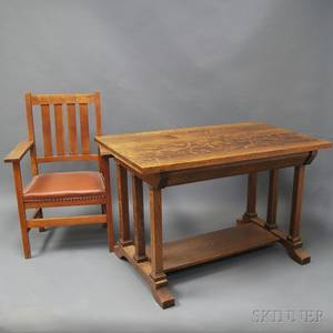 Mission Oak Desk and Chair