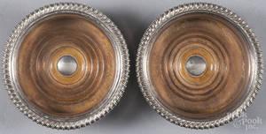 Pair of Sheffield plate wine coasters