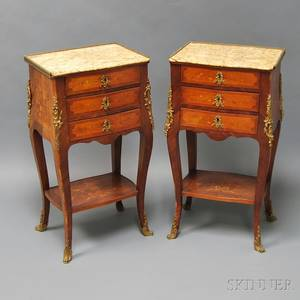 Pair of Louis XVstyle Marquetry Marbletop Side Tables