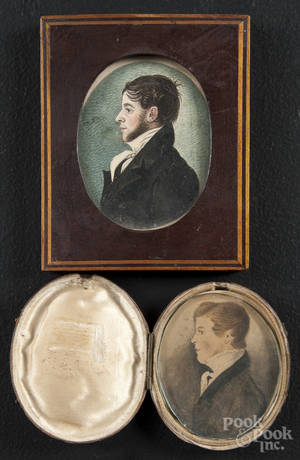 Two miniature watercolor on paper profile portraits of a young men
