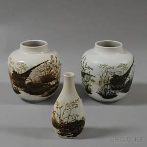 Three Nils Thorsson for AluminiaRoyal Copenhagen Glazed Ceramic Vessels