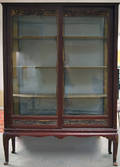 Asianstyle Carved and Redpainted Glass Display Cabinet