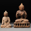 Two Wood Figures of Buddha