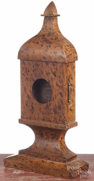 Carved exotic wood pocket watch holder
