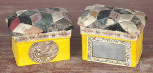 Two Victorian paper covered sewing boxes