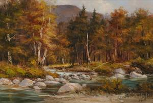 American School 20th Century Autumnal Landscape with River