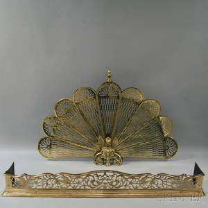 Brass Engraved Fire Fender and Brass Fanshaped Firescreen