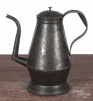 Pennsylvania punched tin goose neck coffee pot