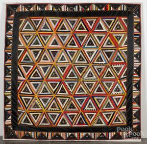 Victorian silk embroidered patchwork quilt