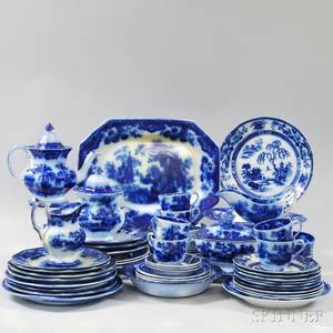 Approximately Sixty Pieces of Flow Blue Tableware