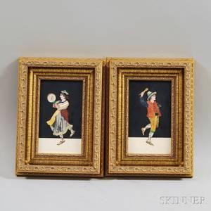Pair of Framed Pietra Dura Plaques