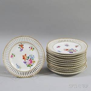 Set of Twelve Floraldecorated Reticulated Plates