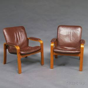 Pair of Ekornes Bentwood Leatherupholstered Armchairs