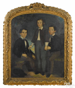 American oil on canvas family portrait mid 19th c