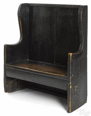 Diminutive painted oak settle 18th c