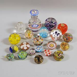 Twentyone Mostly Art Glass Paperweights