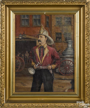 Oil on canvas portrait of a firefighter