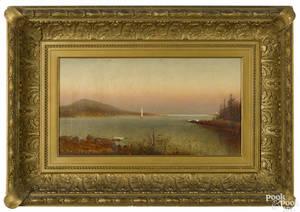 New England oil on canvas coastal scene late 19th c