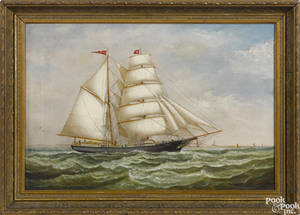 Oil on canvas ship portrait of the Grace Butler
