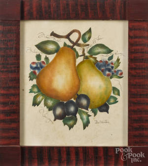 Contemporary oil on velvet theorem of pears