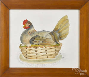 Contemporary oil on velvet theorem of a chicken on a nest