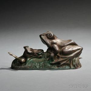 Painted Cast Iron Mechanical Two Frogs Bank
