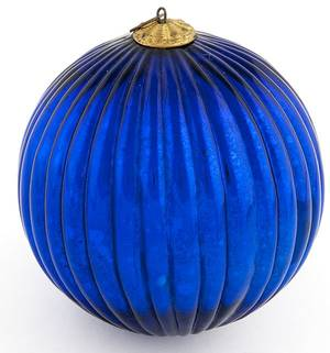 German Kugel blue ribbed ball Christmas ornament