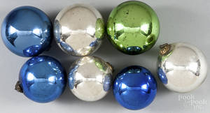 Seven German Kugel Christmas ornaments