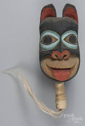 Large contemporary Northwest Coast carved rattle