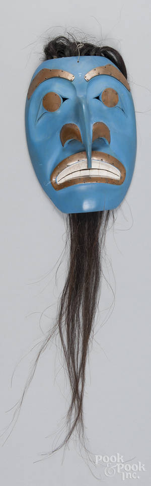 Contemporary Northwest Coast carved and painted mask