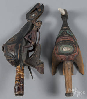 Two contemporary Northwest Coast carved and painted rattles