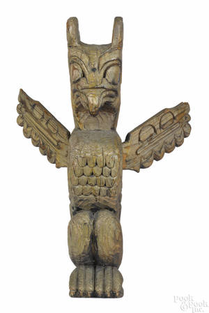 Northwest Coast carved eagle totem