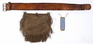 American canvas and macram woven messenger bag