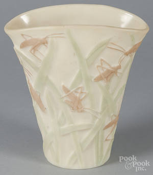 Phoenix glass vase with grasshoppers