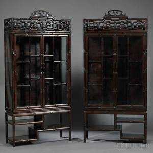 Pair of Faux Bamboo Display Cabinets